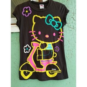 Hello Kitty on scooter Sanrio NEON Fitted T-shirt